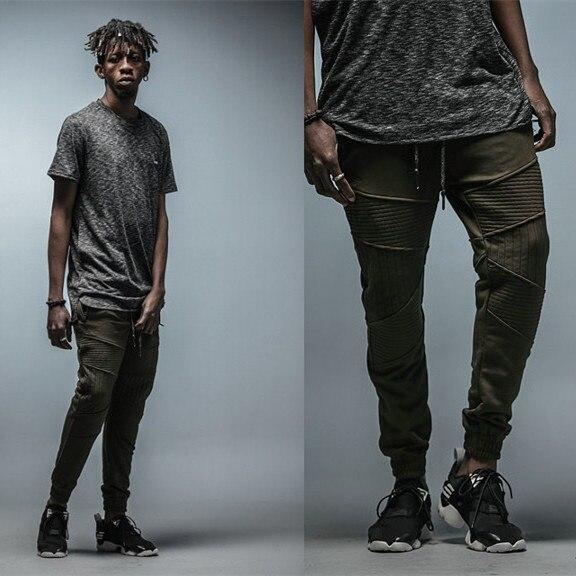 63628657df Streetwear Fashion Mens Biker Sweatpants embroidery Tapered Olive Green  Skinny Pants Zip Pocket HipHop Urban Cothing