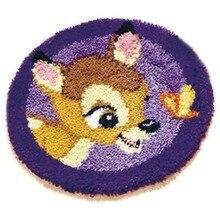 Latch Hook Kits Rug DIY Pillowcase Crocheting Cushion Seat Carpet Round Handmade Canvas Mat Cartoon for Adults Kids Gift Deer