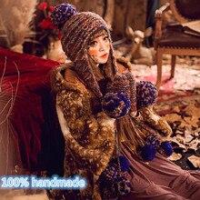 Прекрасный Шапочка и Перчатки Зимние Женщины Девушки Теплый Вязать Ручной Шляпа Шапки Подарок