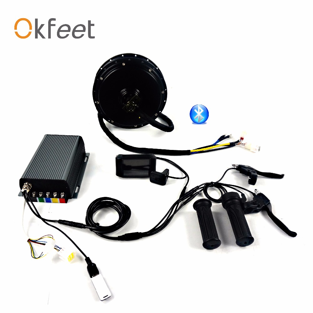 Okfeet QS V3 50 H 72 v 3000 w 5000 w motore bluetooth programmazione APP elettrico di conversione della bicicletta kit sistema display a colori