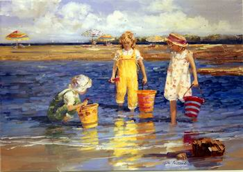 Good Old Days Kids Play On Beach Painting Poster By Pino Daeni Oil Canvas Art