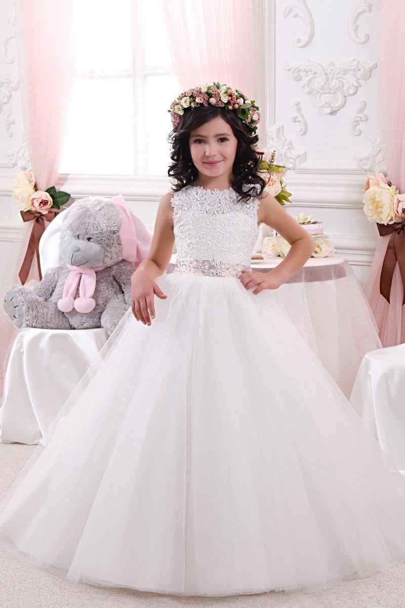 b544162fd Lace Bow Girls Pageant Dresses First Communion Dresses Beautiful  White/Ivory Ball Gown Flower Girl