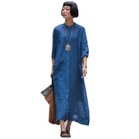 L-5XL 2018 Celmia Women Stand Collar Buttons Down Long Sleeve Long Shirt Dress Vintage Solid Party Cotton Linen Work Vestido