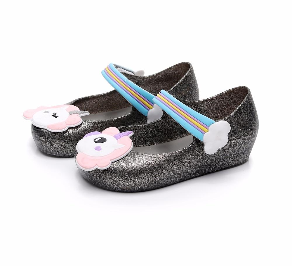 Mini Melissa Sandals 2018 Summer Girls Princess Jelly Sandals Children Shoes Baby Beach Shoes Slip Resistant Girls Sandals