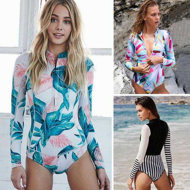 28b5e98fb6 2018 Print Floral One Piece Swimsuit Long Sleeve Swimwear Women Bathing  Suit Retro Swimsuit Vintage One