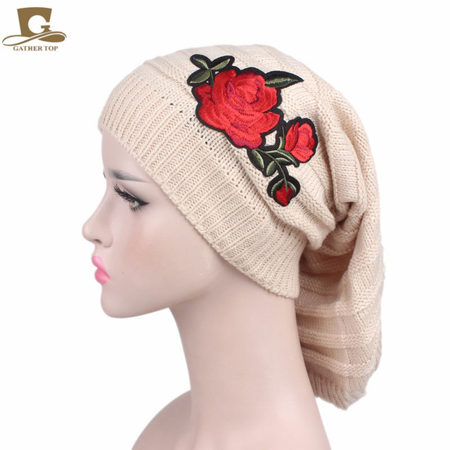 68af0e6d33b93 New fashion Handmade Knitting Hats women winter beanie Baggy Slouchy Long  Knit Dreadlock Hat Cap with red rose flower
