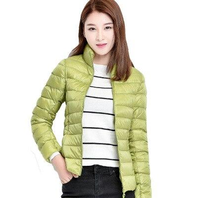 Женское зимнее пальто Новая мода 90% белый утиный пух куртка Сверхлегкий портативный тонкий пуховик женские зимние куртки парки - Цвет: Green