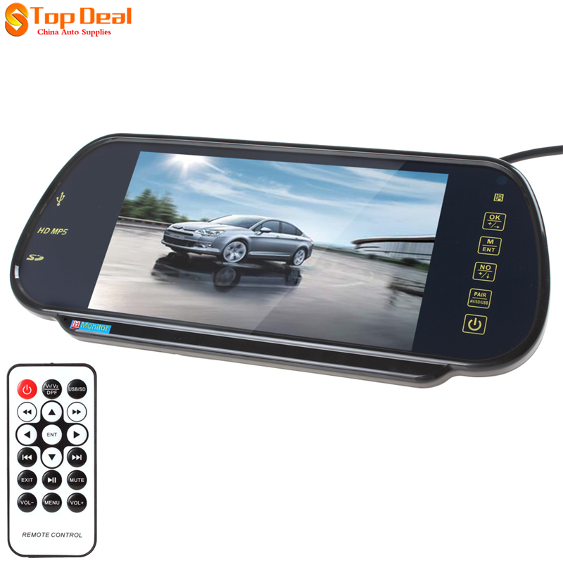 7 Color TFT LCD MP5 Car Rearview Mirror Video Monitor Auto Parking Rearview Monitor 7 SD USB for Reverse Camera 7 car mirror monitor tft lcd vehicle car reaview mirror screen with remote controller bluetooth usb sd mp5 video player