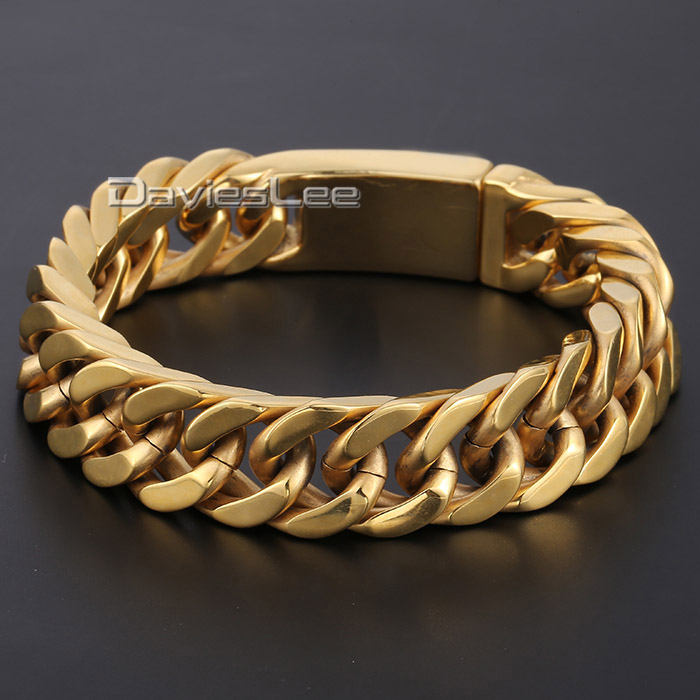 Davieslee 14mm Wide 316L Stainless Steel Boys Mens Chain Cut Rombo Double Curb Link Black Gold-color Bracelet DLHB346 25mm mens boys gold