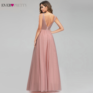 Image 4 - Elegant Prom Dresses Ever Pretty Sexy Pink Beaded V neck A line Illusion Evening Party Gowns EP00901 Gala Jurken Dames 2020