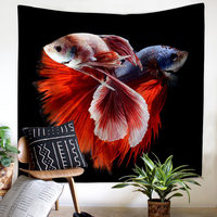 Large Size Cloth Wall Hanging Tapestry Picnic Mats Curtain Bed Sheets 3 Models Betta Fish Ornamental Fish Wall Background Decor