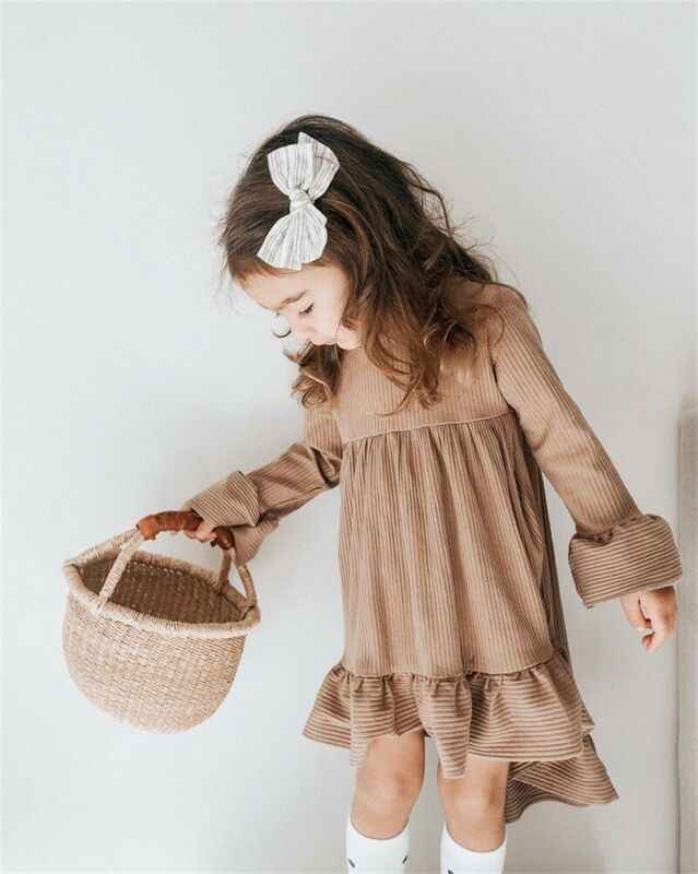 Toddler Kid Baby Girl Flower Dress Princess Wedding Party Casual Dresses Flare Sleeve Tuxedo Dresses
