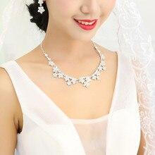 Acessórios do casamento de Prata Banhado A Pingentes de Colar e Brincos para As Mulheres De Jóias de Noiva de Alta Imitação