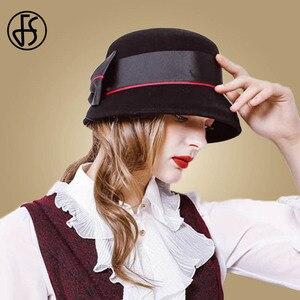 Image 5 - Fedora de fieltro de lana Vintage para mujer, sombrero de Lazo Rojo, con diseño Floral, ala ancha, Bowler, elegante, para invierno, para iglesia, FS