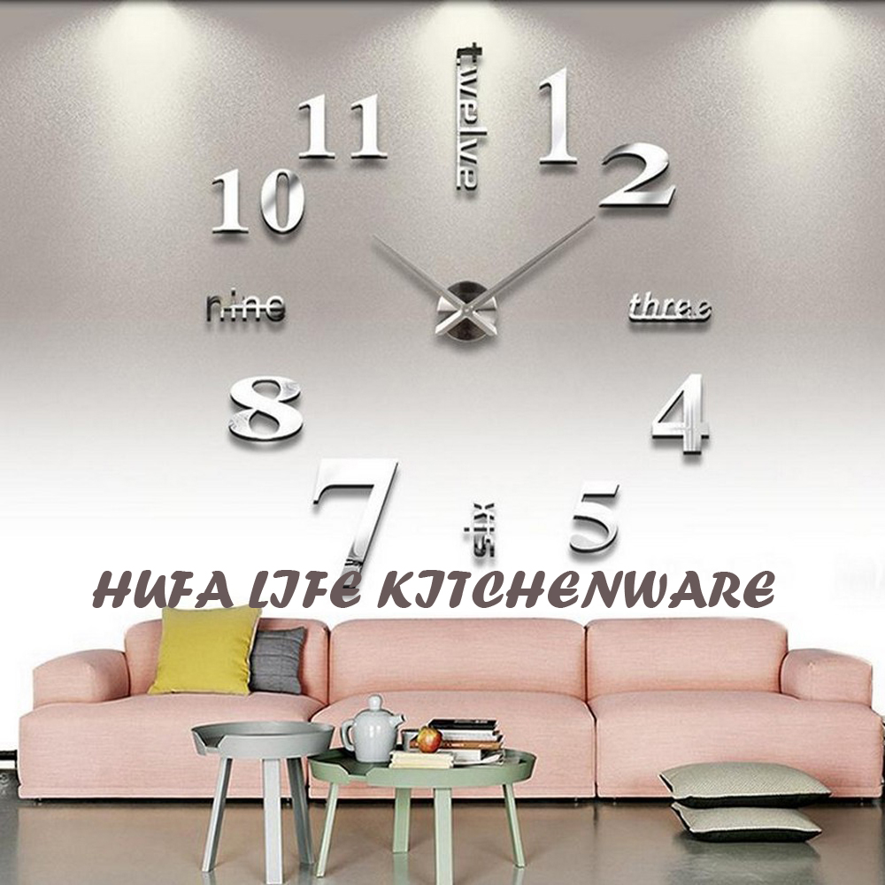 compare prices on diy clock wholesale online shopping buy low reloj de pared wholesale fashion diy home decor sticker wall clock for living room acrylic material