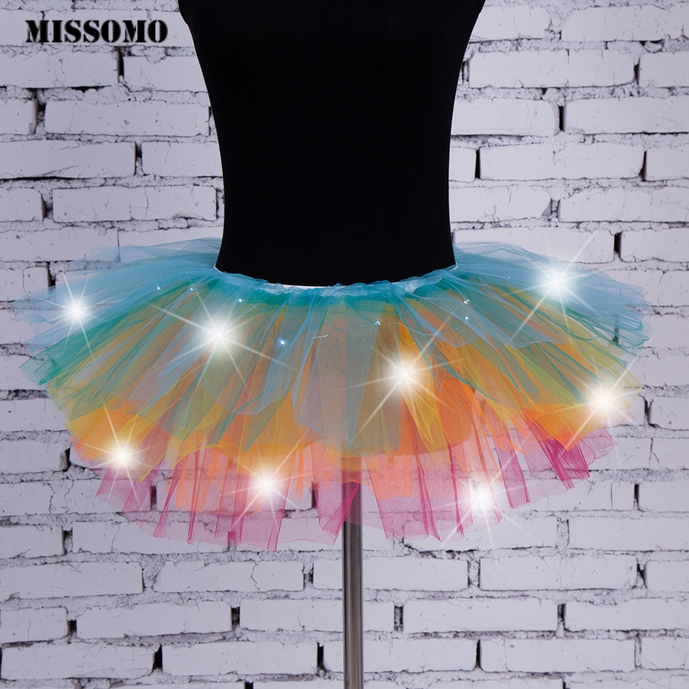 MISSOMO tutu skirt women   tutu femme 10 colors sexy Girls Light Up LED Tutu Stage Dance Tutu Short Mini Skirt Dancewear Evening