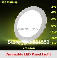 Dim Led Panel Işık 3 W 4 W 6 W 9 W 12 W 15 W 18 W Yuvarlak Şekil Güç Adaptörü AC85-265V Ulthra ince ile