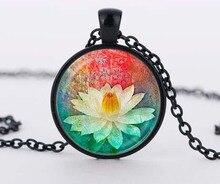 colorful bloom mandala lotus necklaces enamel henna yaga necklace dome cabochon pendant jewelry om symbol buddhism zen c-n 832