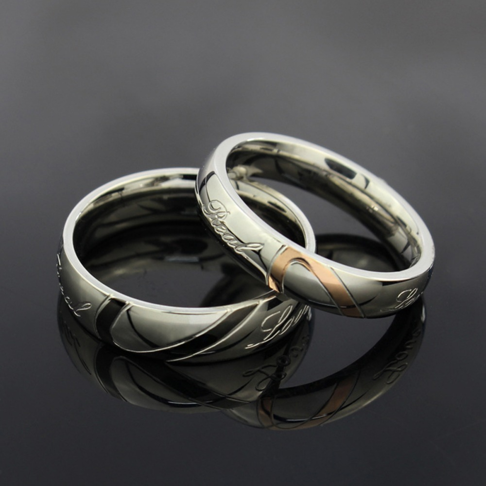 Stainless steel silver half heart simple circle real love for Real wedding ring