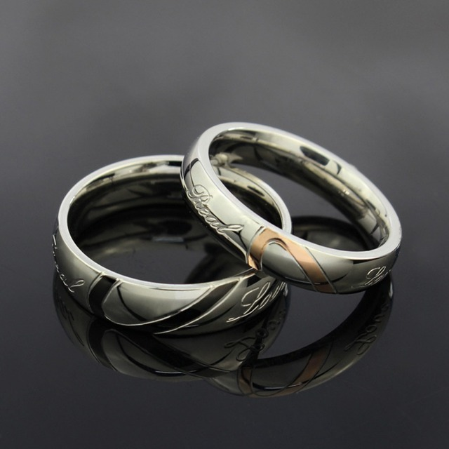 stainless steel silver half heart simple circle real love couple ring wedding rings engagement rings sell - Circle Wedding Rings