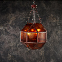 Retro glaze handmade old color octagonal glass Pendant Lights rusty gray American style Pendant lamp 3 ya72923
