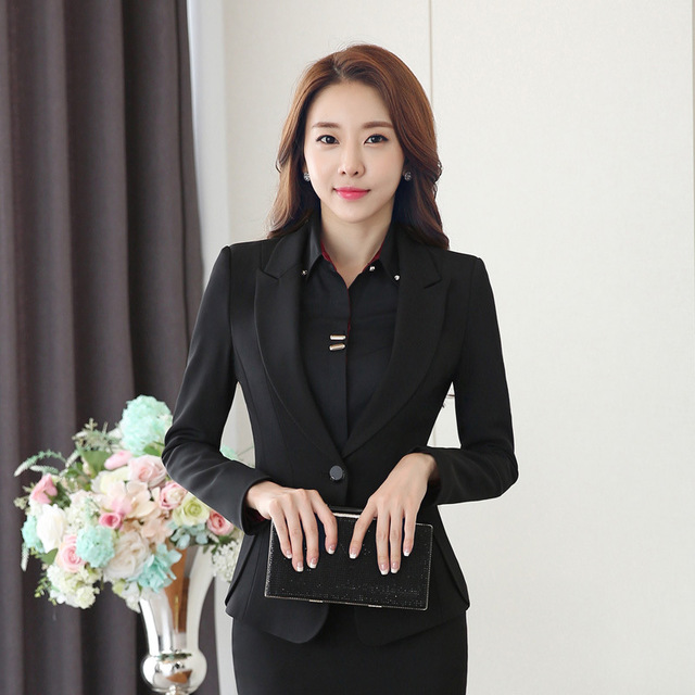 Women's Black Work Suit Two Piece Blazer and Pants Set Spring Autumn Trousers Suits Women Formal Office Wear Pantsuit for Women