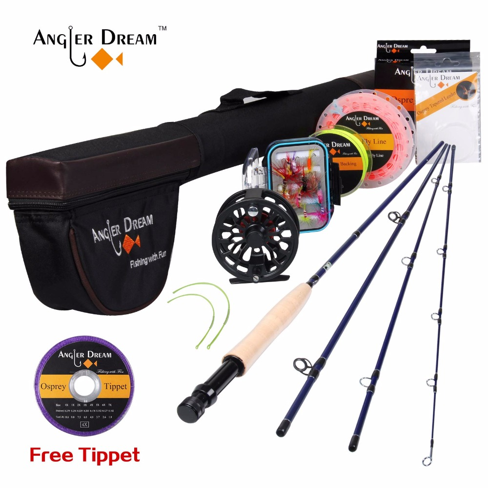 Angler Dream Fly Fishing Rod Combo 3/4 5/6 WT CNC Machined Fly Reel Weight Forward Floating Fly Line Free Tippet & Rode Tube angler dream fly fishing combo 3 4 5 8wt carbon fiber fly rod kit cnc machined fly fishing reel