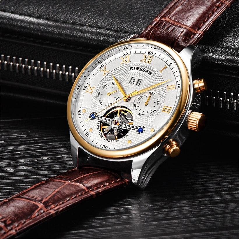 Binssaw Herenhorloges Mechanisch Horloge Duik 50m Kalender Gouden - Herenhorloges - Foto 5