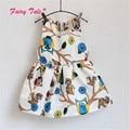 Niños lindos de los Bebés Sin Mangas Owl Imprimir Tutu Vestido de Una Pieza Party Princess Dress 2-6Y