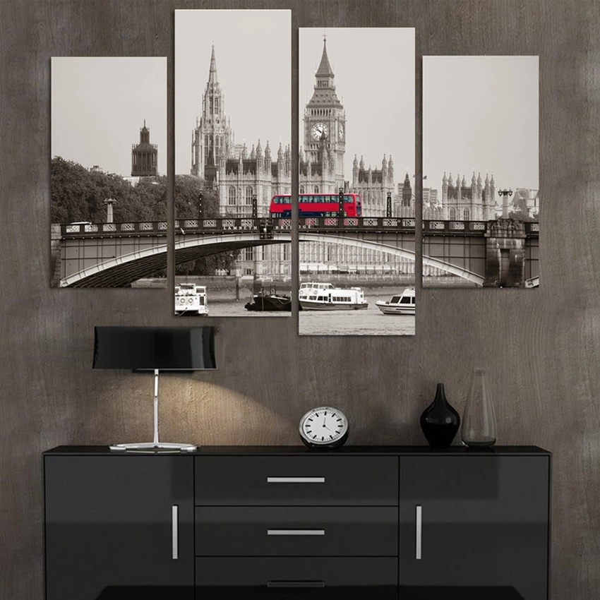 Retro Style 4 Piece London Red Bus Canvas Print Oil Painting Home Decor Wall Art Picture for Living Room No Framed