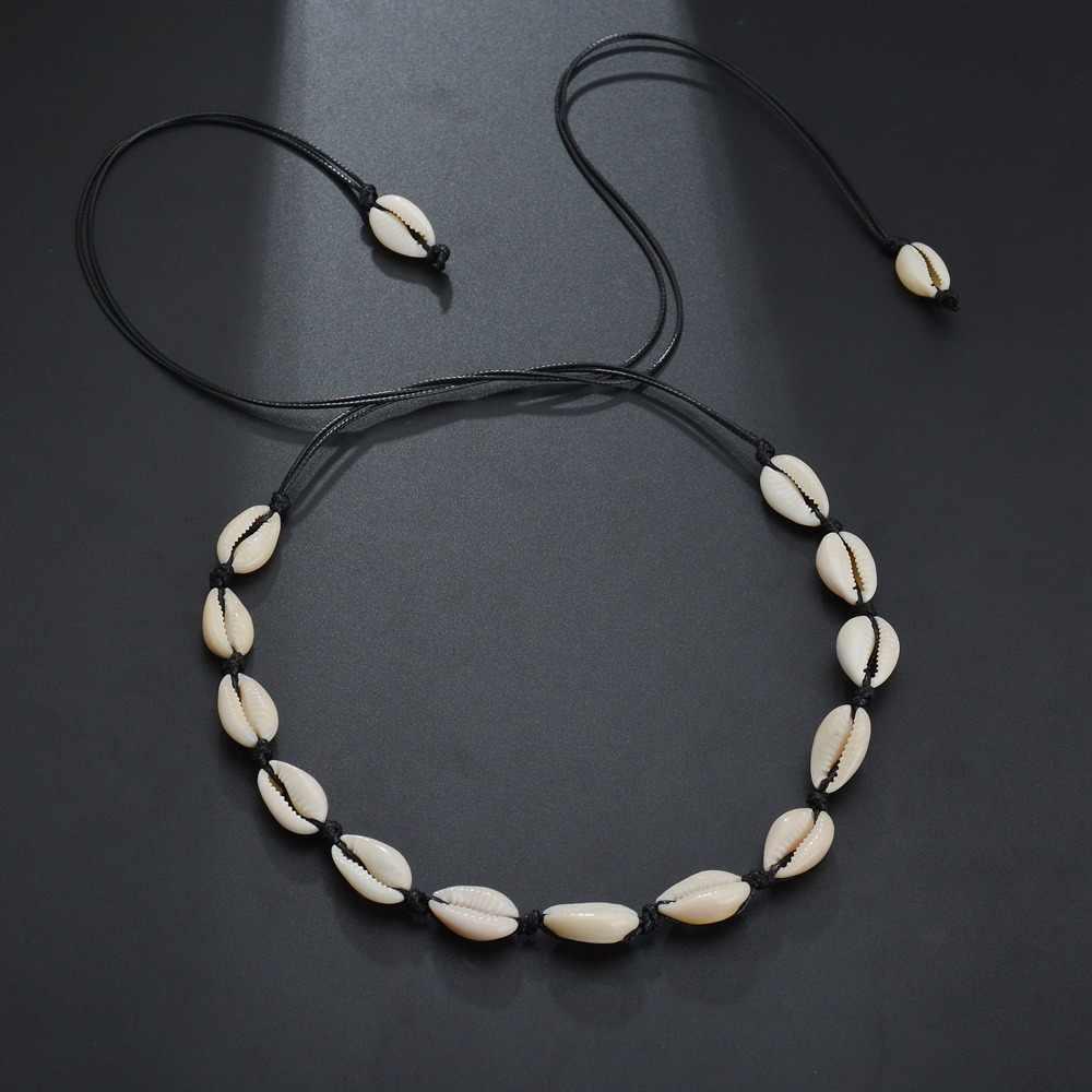 X136 Alami Musim Panas Pantai Shell Kalung Kalung Sederhana Bohemian Kerang Kalung Perhiasan untuk Wanita Gadis Ulang Tahun Hadiah Baru