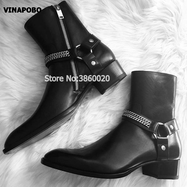 2018 Real Picture High Top Black Genuine Leather Ankle Buckle Strap Sliver Chain Luxury Men Chelsea