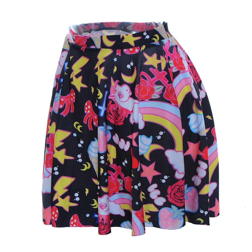 Novo 1013 verão sexy menina dos desenhos animados lua arco-íris unicórnio impresso torcendo esquadrão tutu skater feminino mini saia plissada plus size