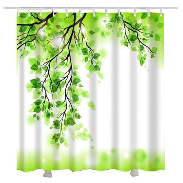 Green Tree Shower Curtains Bathroom Curtain Cortinas De Ducha Douchegordijn Bano