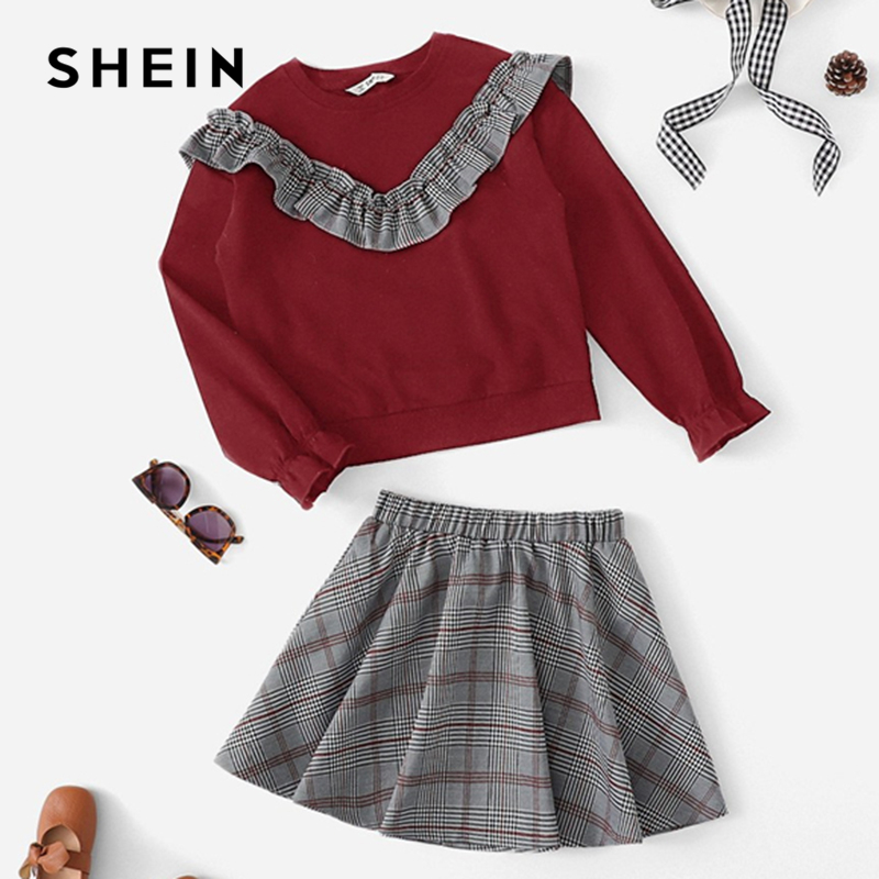 SHEIN Kiddie Plaid Ruffle Sweatshirt And Flared Skirt Two Piece Girl Clothes Set 2019 Long Sleeve Colorblock Cute Kids Suit Sets split back plaid skirt