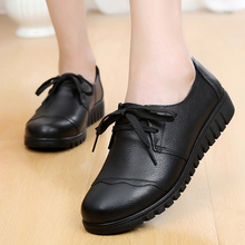2019 arrival hot genuine leather shoes party basic solid lace-up flat shoes women round toe tenis feminino plus size 35-41