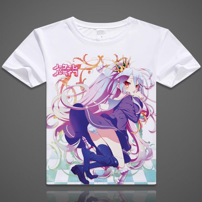 NO GAME NO LIFE T-shirt Anime Sora Cosplay Short Sleeve T shirt Shiro Breathable Tshirt Fashion Men Women Tees