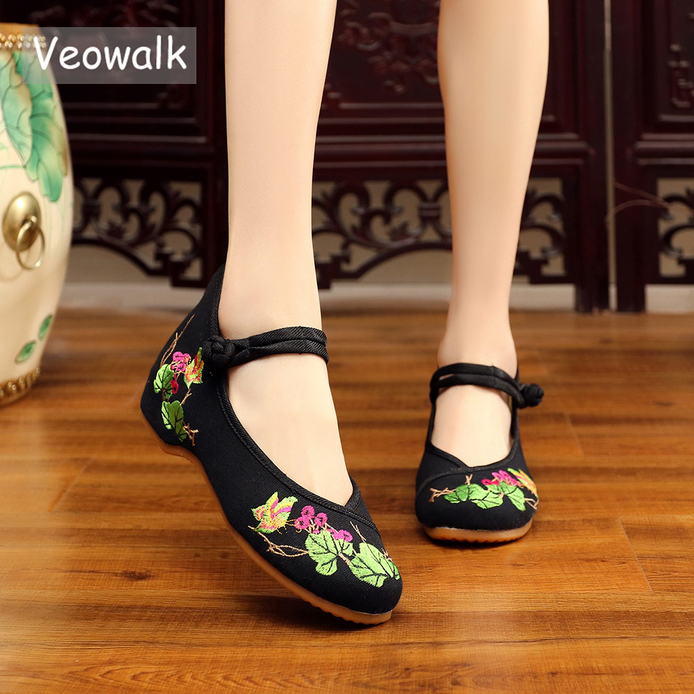 Veowalk Vintage Women's Canvas Embroidery Ballet Flats Ladies Comfortable Flowers Embroidered Ballerina Shoes chaussure femme