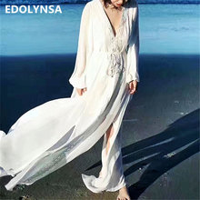 Tiempo De playa 2020 verano Pareo De Playa Blanca gasa De Bikini Cover Up Kaftan Saida De Praia traje De baño Cover Up # Q399(China)