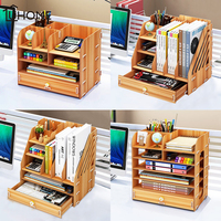 4 Layers Large Wooden Storage Box Makeup Holder Office Pen File Organizer Storage Box with Drawer Stationary Jewelry Container