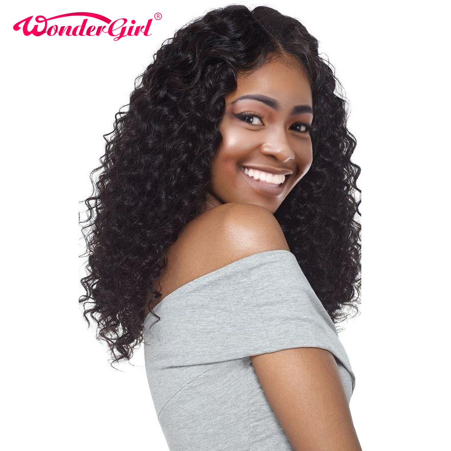 Wonder girl 13X4 Glueless Lace Front Human Hair Wigs For Black Women Pre Plucked Deep Wave