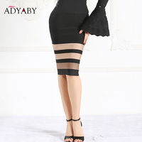 Pencil Skirt Womens 2018 Summer New Arrivals Striped High Waist Bandage Skirts Ladies Black Bodycon Midi Skirt jupe femme