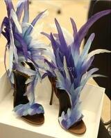 Элитный бренд перо босоножки на высоком каблуке Для женщин вечерние каблуки Фиолетовый Белое платье обувь реальные фотографии