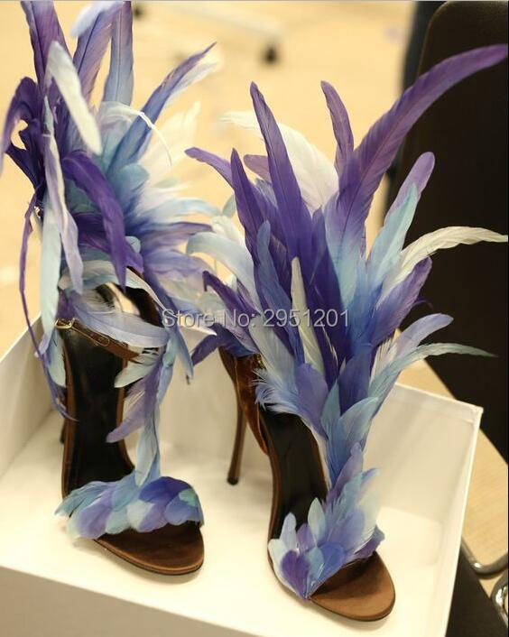 Luxury Brand Feather High Heel Sandals Women Party Heels Purple White Dress Shoes Real Pictures