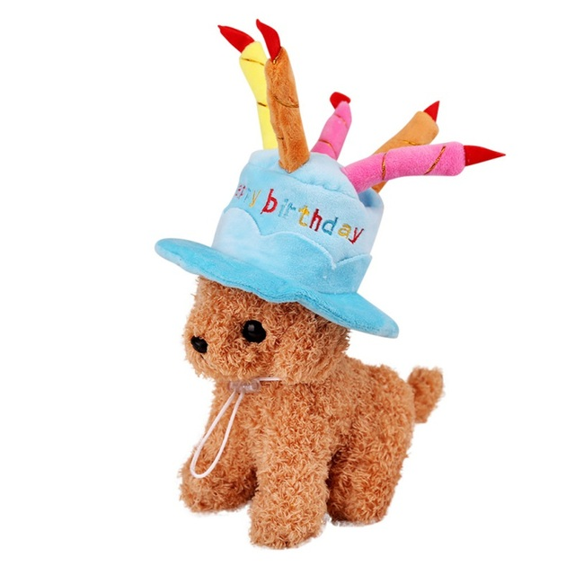 Cat Dog Caps Happy Birthday Hat With Cake Candles Design Party Teddy Poodle Kawaii Cute Style
