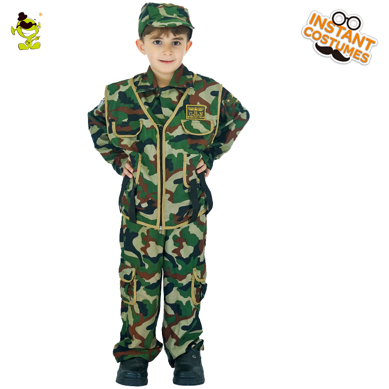 Kids Soldier Camo Costumes Boys Military Person Cosplay Clothing Children Tenarious Armyman Outfit for Career Role-play Party