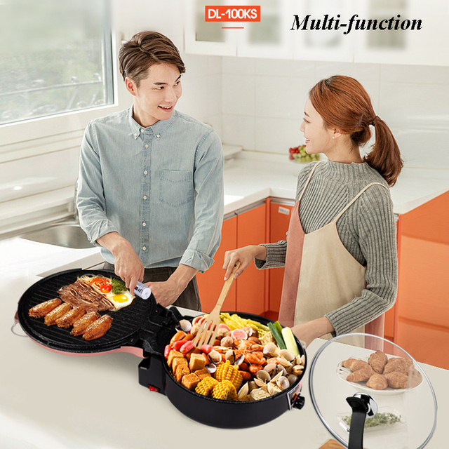 Household Electric Multi Cooker Grills Oven Cooker Hot Pot Multi-functional Smokeless Electric Roast Double Heating DL-100KS 2