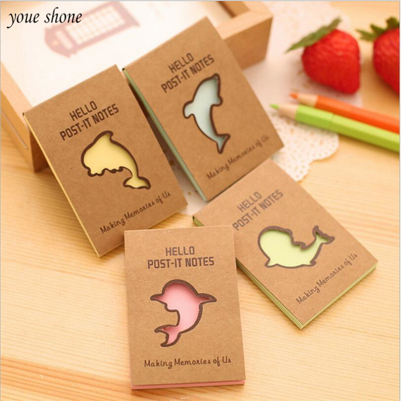 1Pcs/lot New Korean version of the dolphin series of stickers posted ku paper N times posted cute hollow message notebook