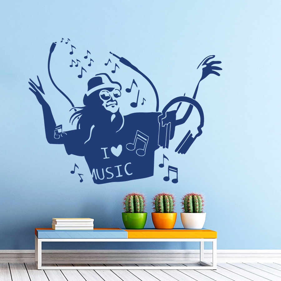 ̀ •́ Muziek Muurstickers Man Liefde Vinyl Sticker Home Decor ...