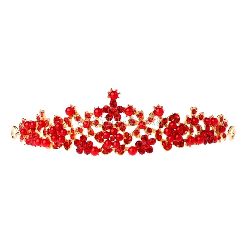Bridal Wedding Red Rhinestone Faux Pearl Tiara Headband Crown Hair Accessories